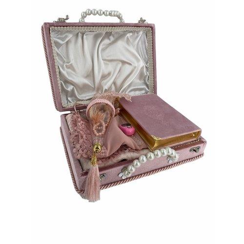 Damesset met Koran Gebedskleed Hoofddoek Tasbih en elektronische Tasbih in doos Donkerroze