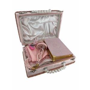 Damesset met Koran Gebedskleed Hoofddoek Tasbih en elektronische Tasbih in doos Lichtroze