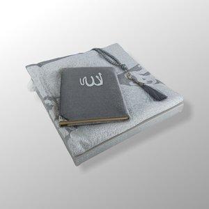 Fluwelen Yasin Mushaf boekje met gebedskleed en Tasbeeh  Zilver
