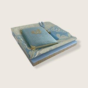 Fluwelen Yasin Mushaf boekje met gebedskleed en Tasbeeh Blauw