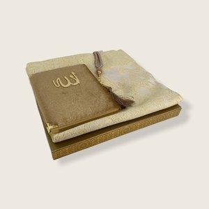 Fluwelen Yasin Mushaf boekje met gebedskleed en Tasbeeh Goud
