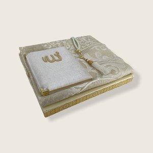 Fluwelen Yasin Mushaf boekje met gebedskleed en Tasbeeh Wit