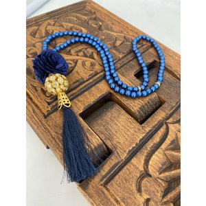 Parel tasbeeh met Kristallenbol Donkerblauw