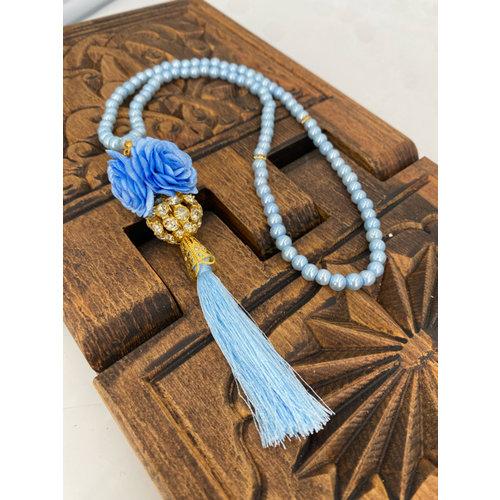 Parel tasbeeh met Kristallenbol Baby Blauw