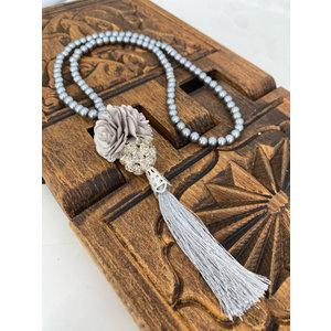 Parel tasbeeh met Kristallenbol Zilver