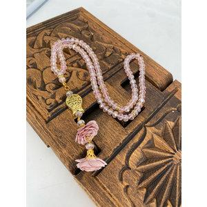 Kristallen tasbeeh met rozen Roze