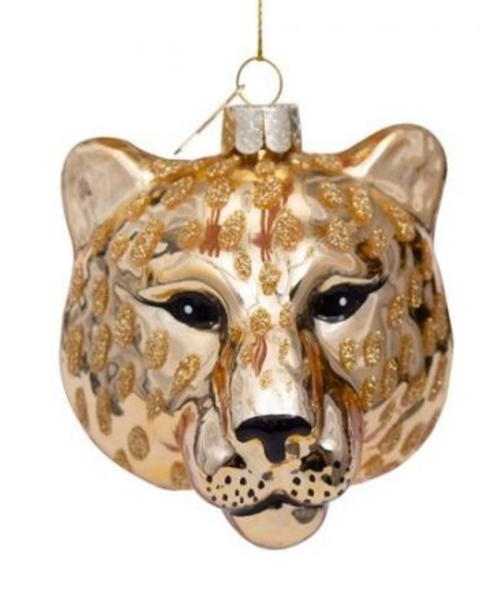 Vondels Ornament glass shiny gold panther head