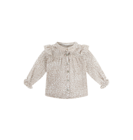 House of Jamie Frill Blouse cream leopard