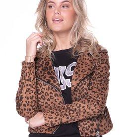 Colourful Rebel Romee leopard biker jacket brown