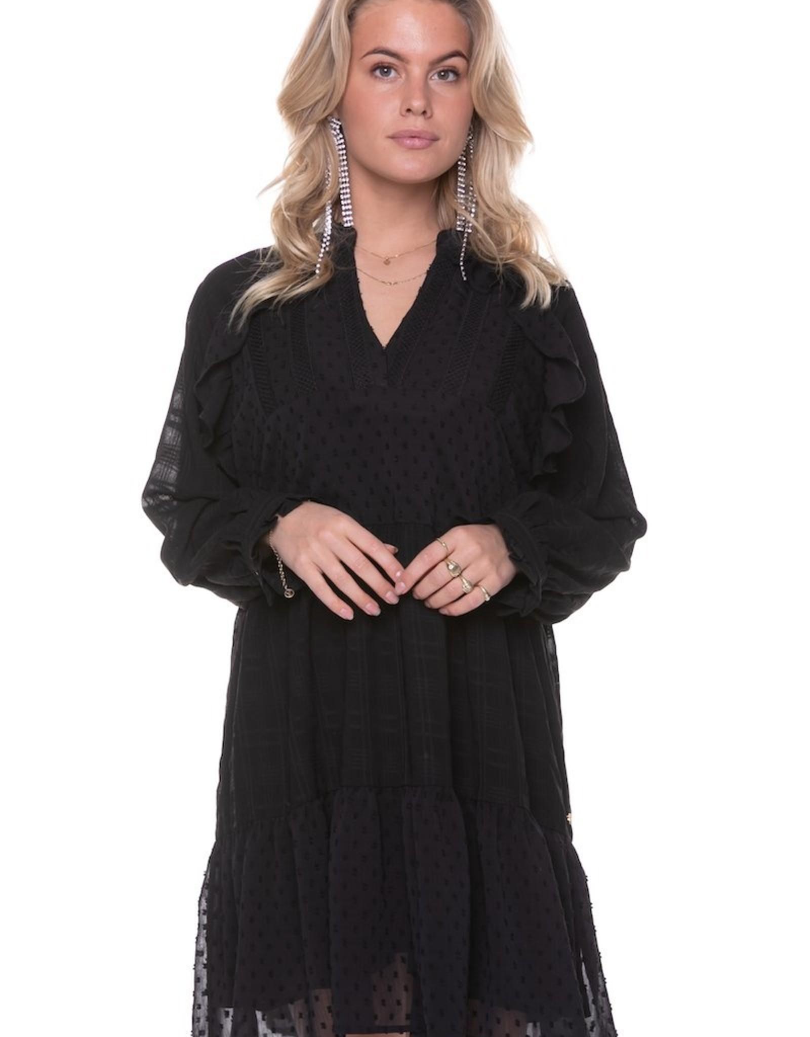 Colourful Rebel Avery Mini Tape dress black