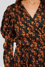 Natalie Dress Black/Orange Flower