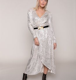 Colourful Rebel Momo Small Sequins Maxi Dress Woman Gold