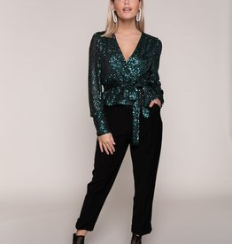 Colourful Rebel Safi Small Sequins Fake Wrap Top Woman Emarald