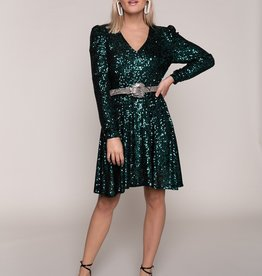 Colourful Rebel Lona Small Sequins Dress Woman Emerald
