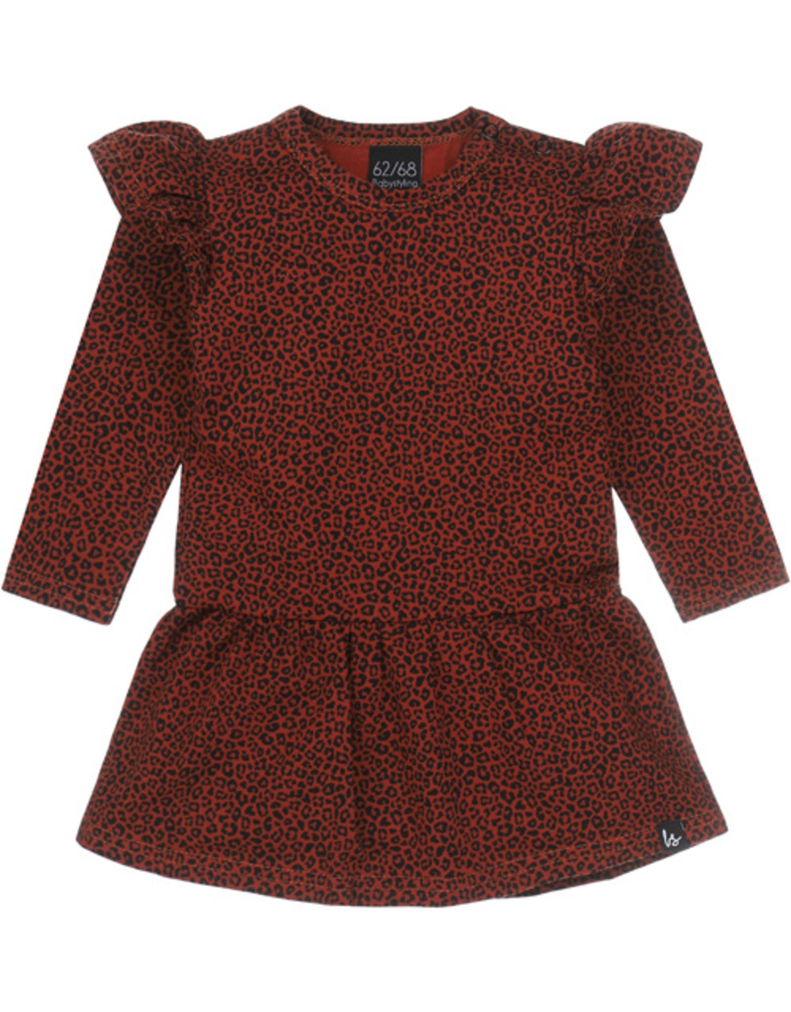 Babystyling Ruffle rokjurkje luipaard roest
