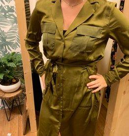 Ichi Ichi Satijn jurk groen