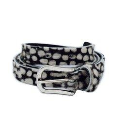 Black cheetah belt 2 cm silver