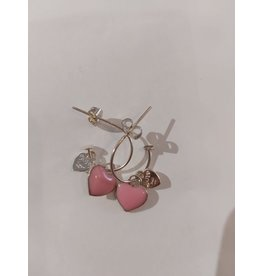 Joy Bali JOY Bonita oorbellen - Roze hart