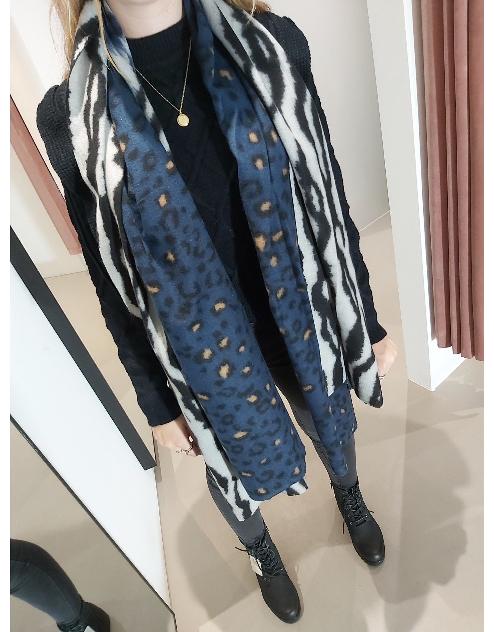 L'Avenue Sjaal zebra / leopard blauw
