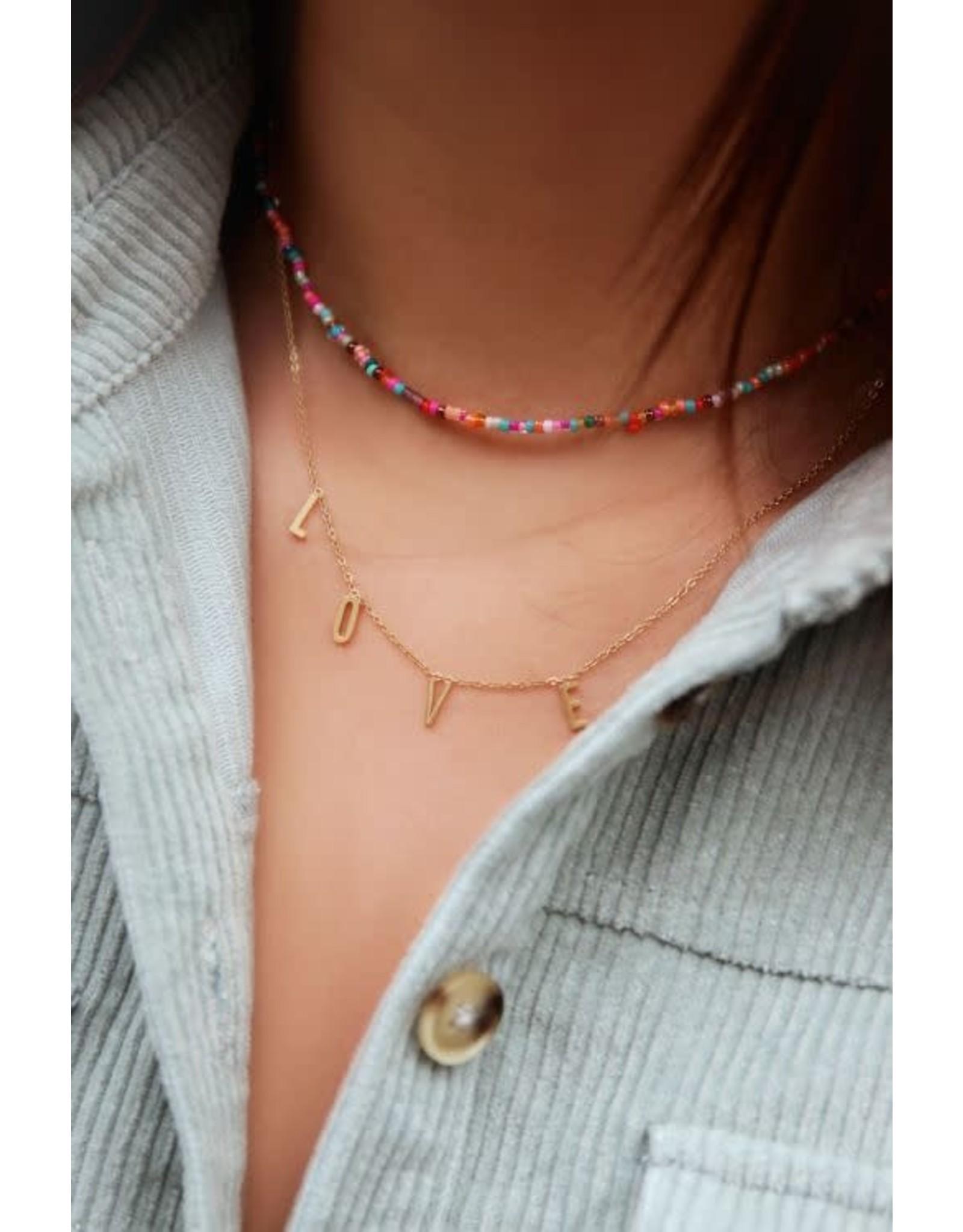My Jewellery My Jewellery dubbele ketting kralen en love