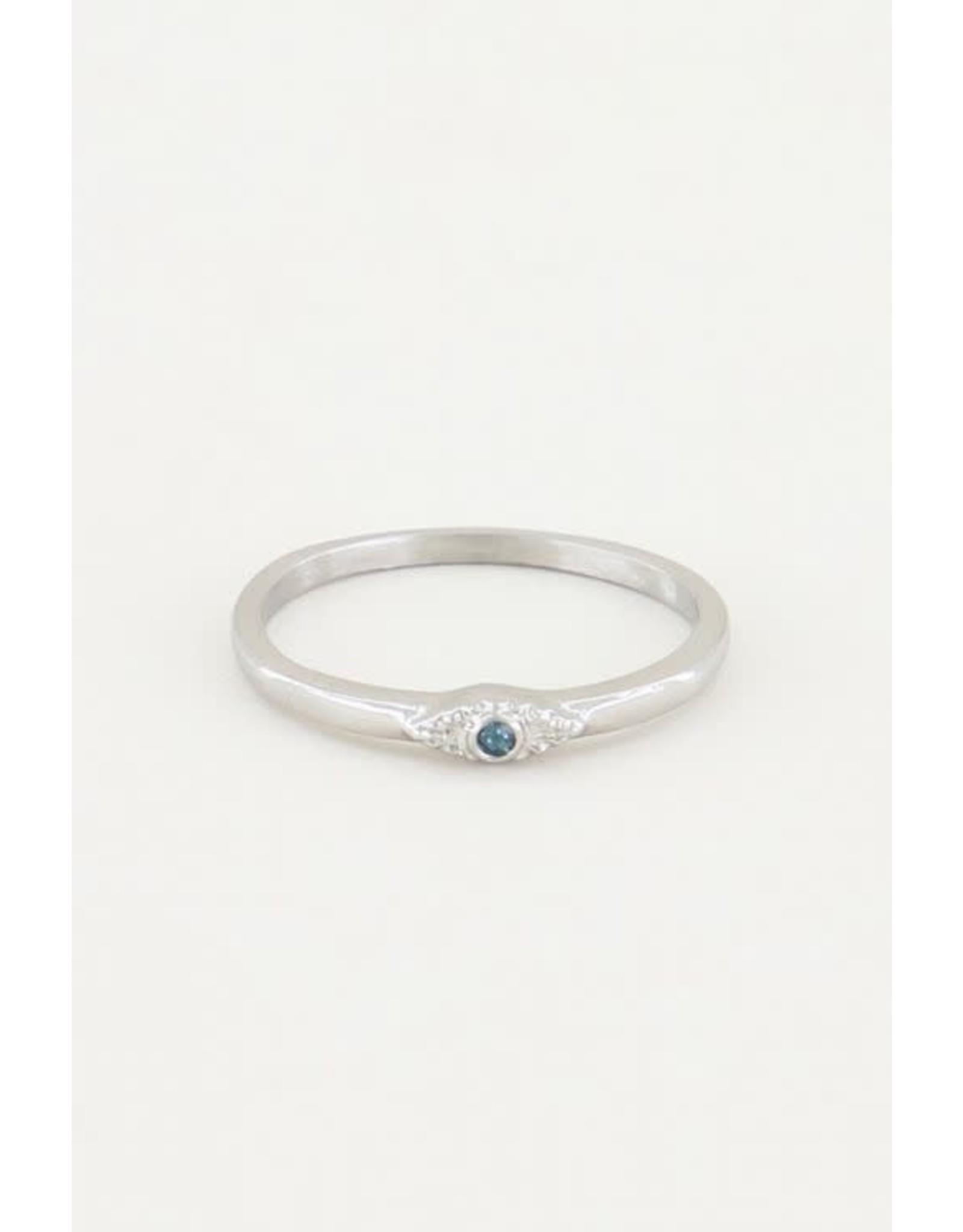 My Jewellery My Jewellery ring vintagw blauw steentje