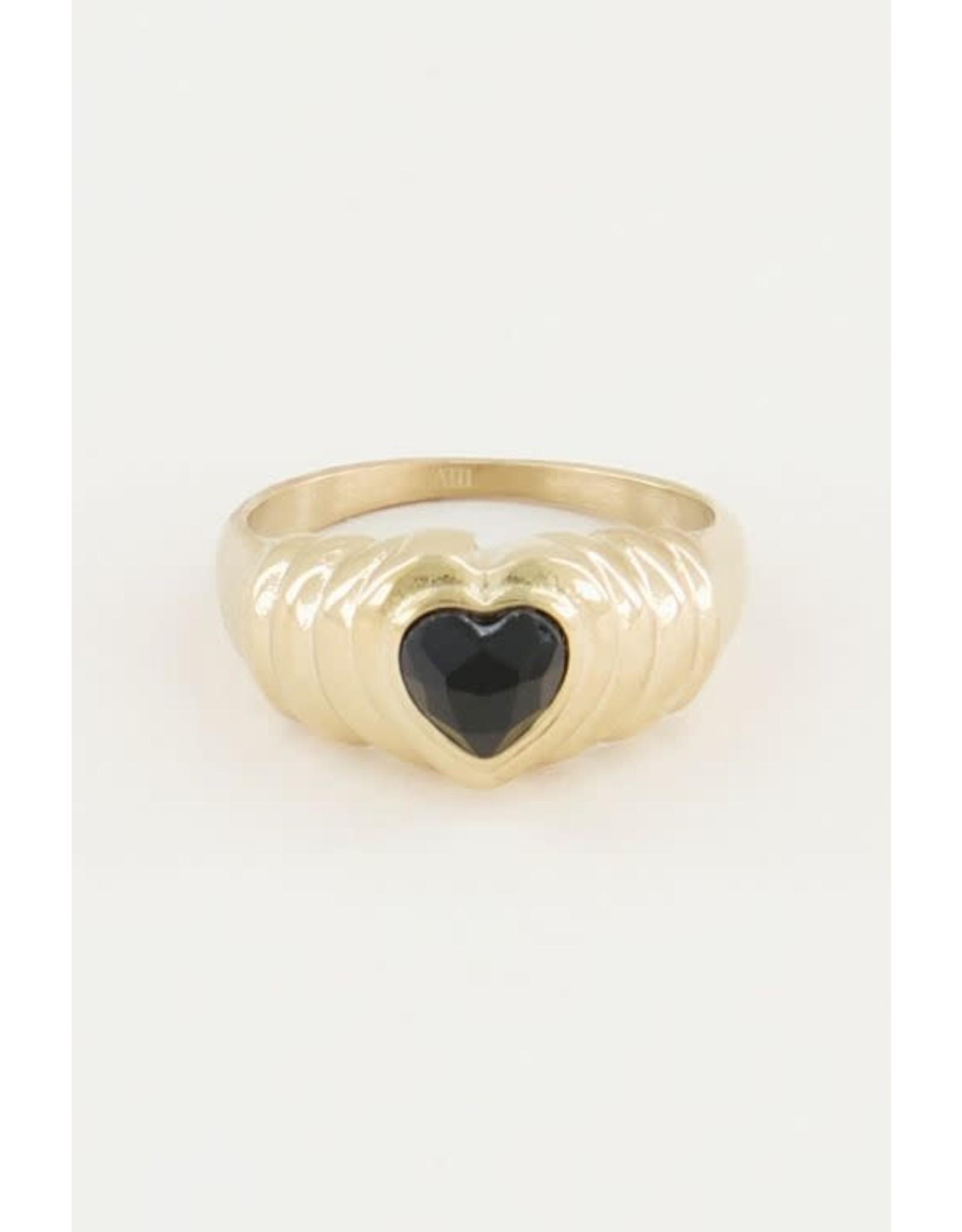My Jewellery My Jewellery ring onyx hartje zwart