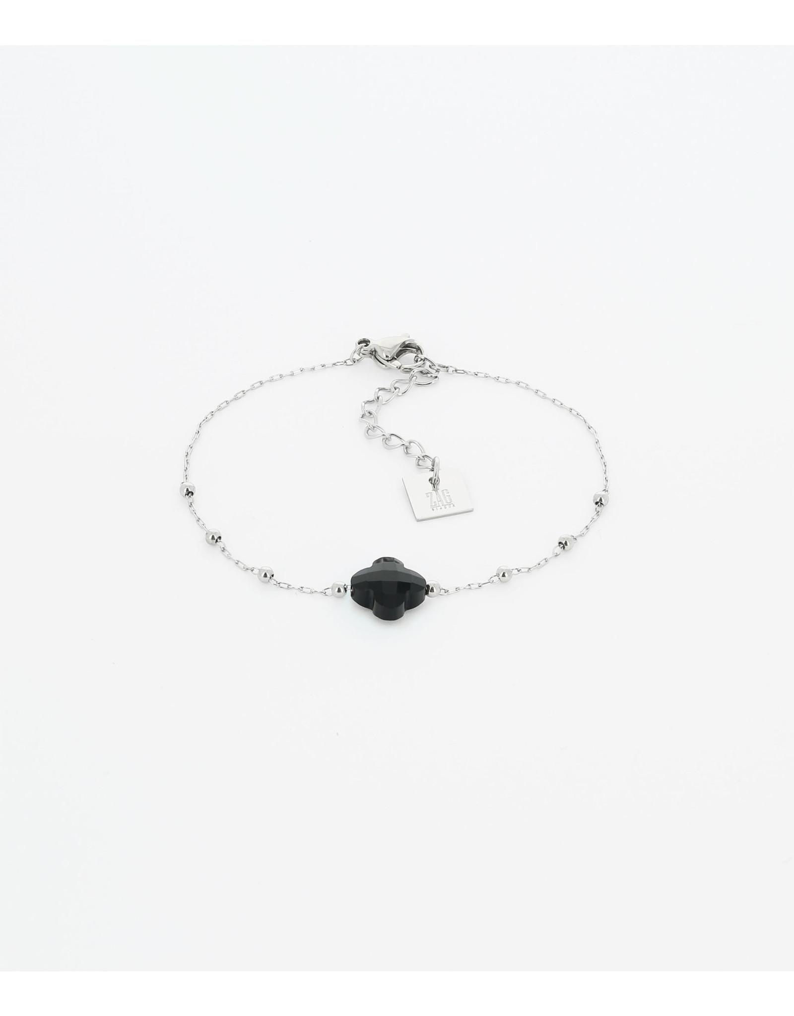Zag Bijoux Zag Armband zwarte klaver