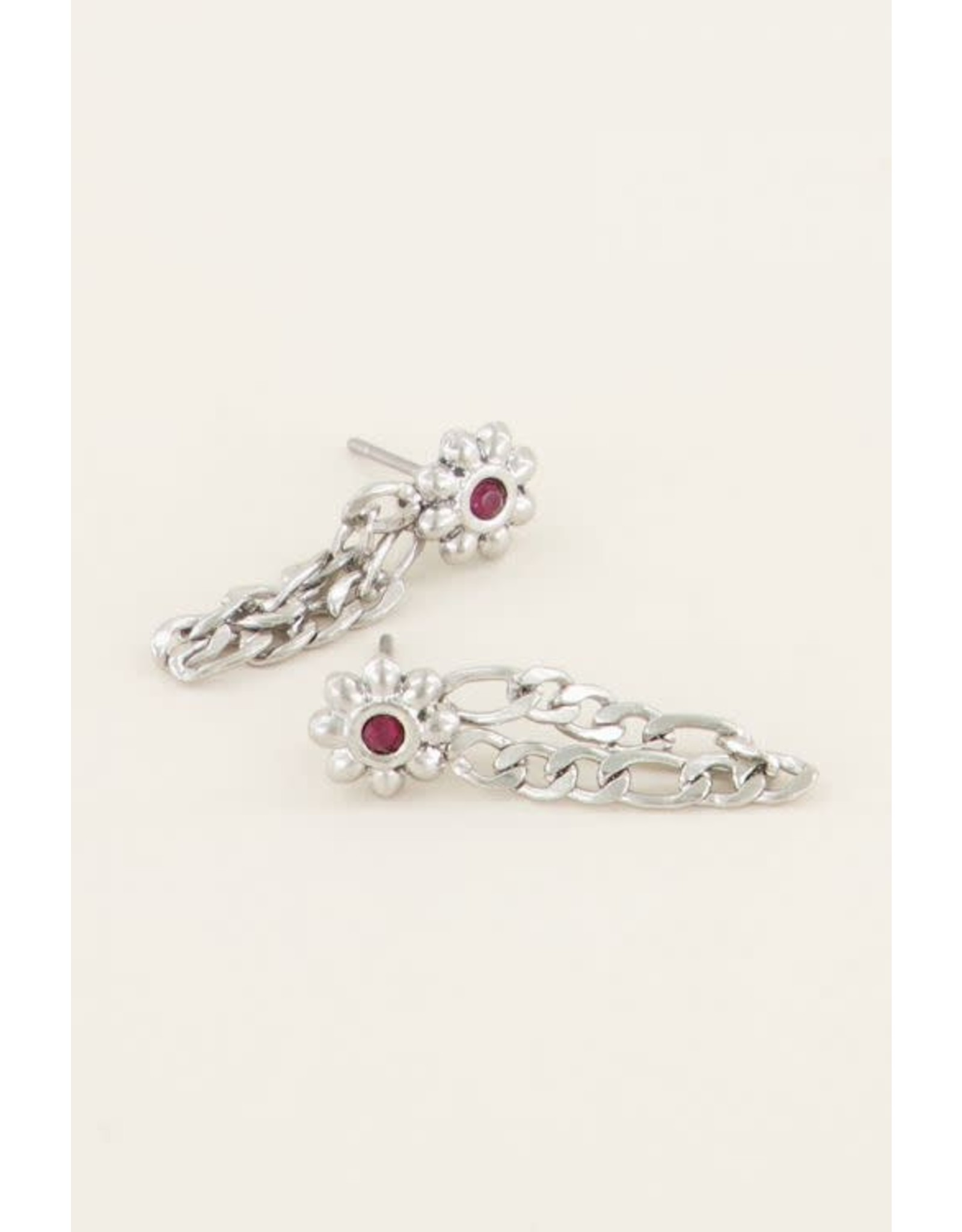 My Jewellery My Jewellery oorhangers bloem en steentje