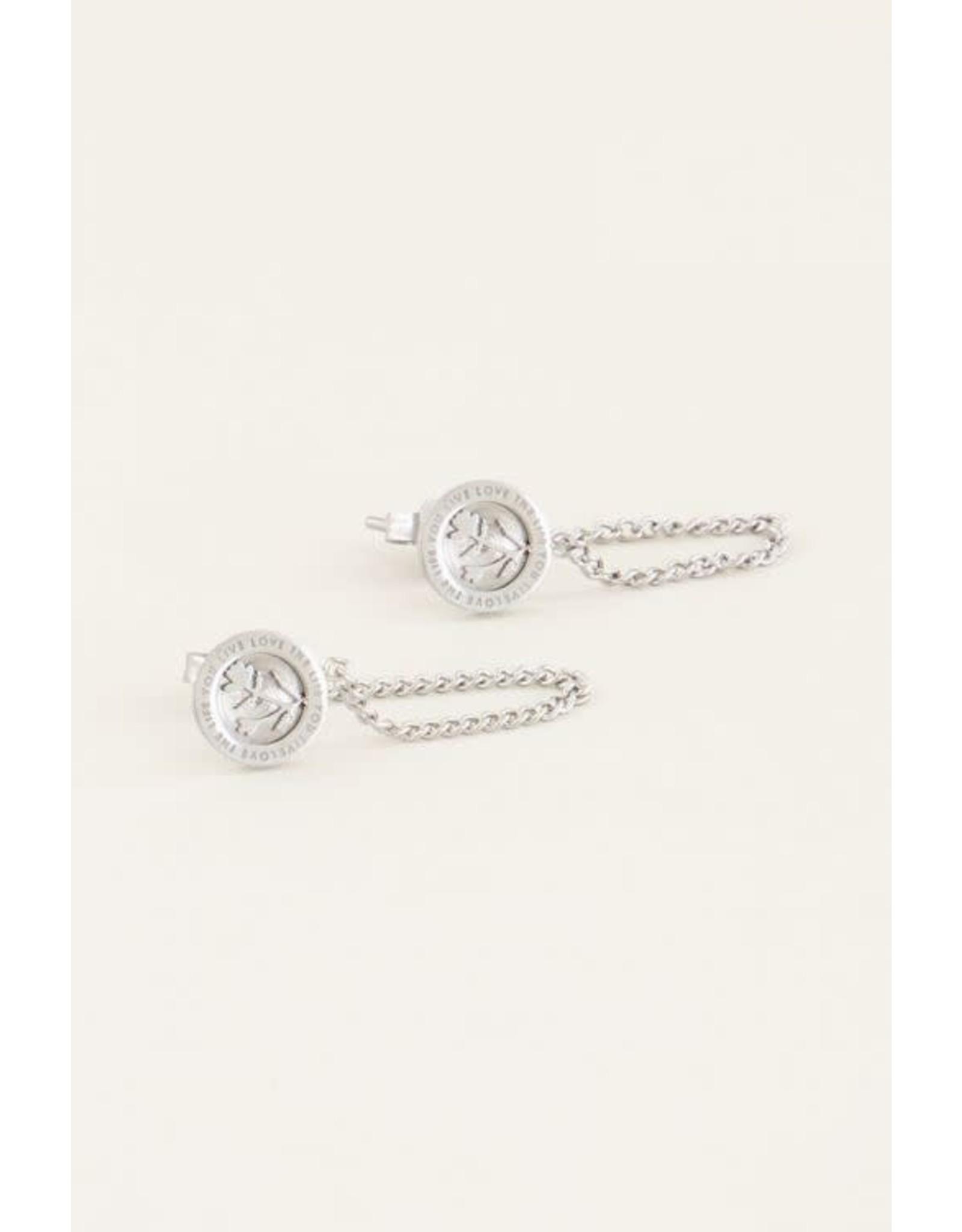 My Jewellery My Jewellery oorhangers bloem en kettinkje