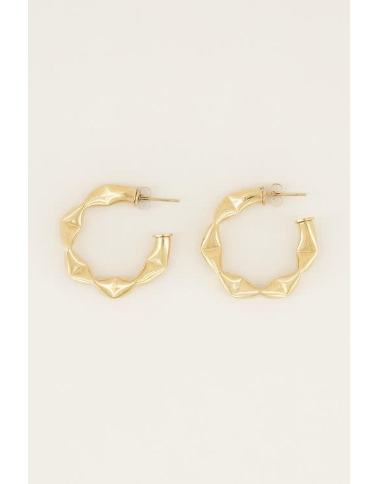 My Jewellery My Jewellery brede oorringen met patroon