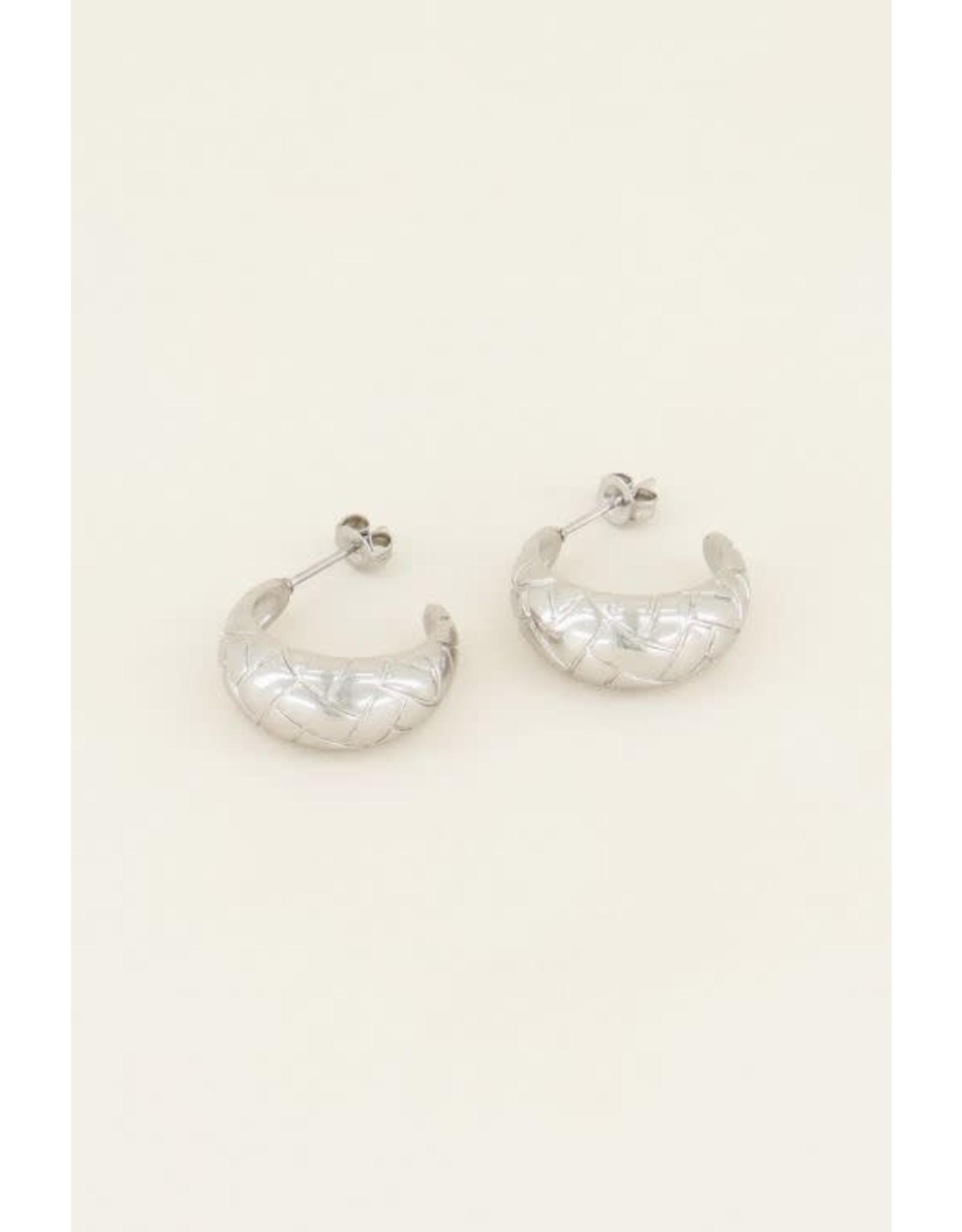 My Jewellery My Jewellery brede oorringen reliëf