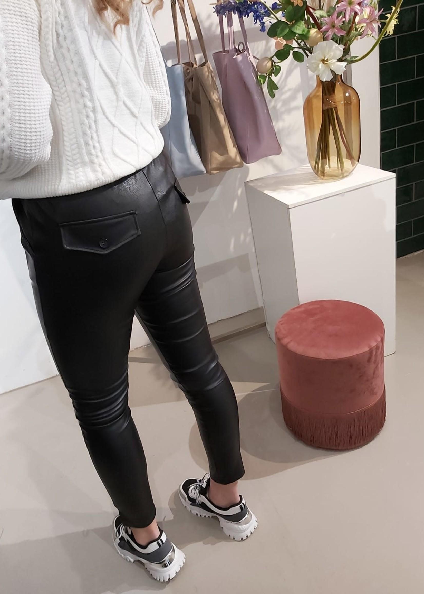 L'Avenue Lederen look broek zwart
