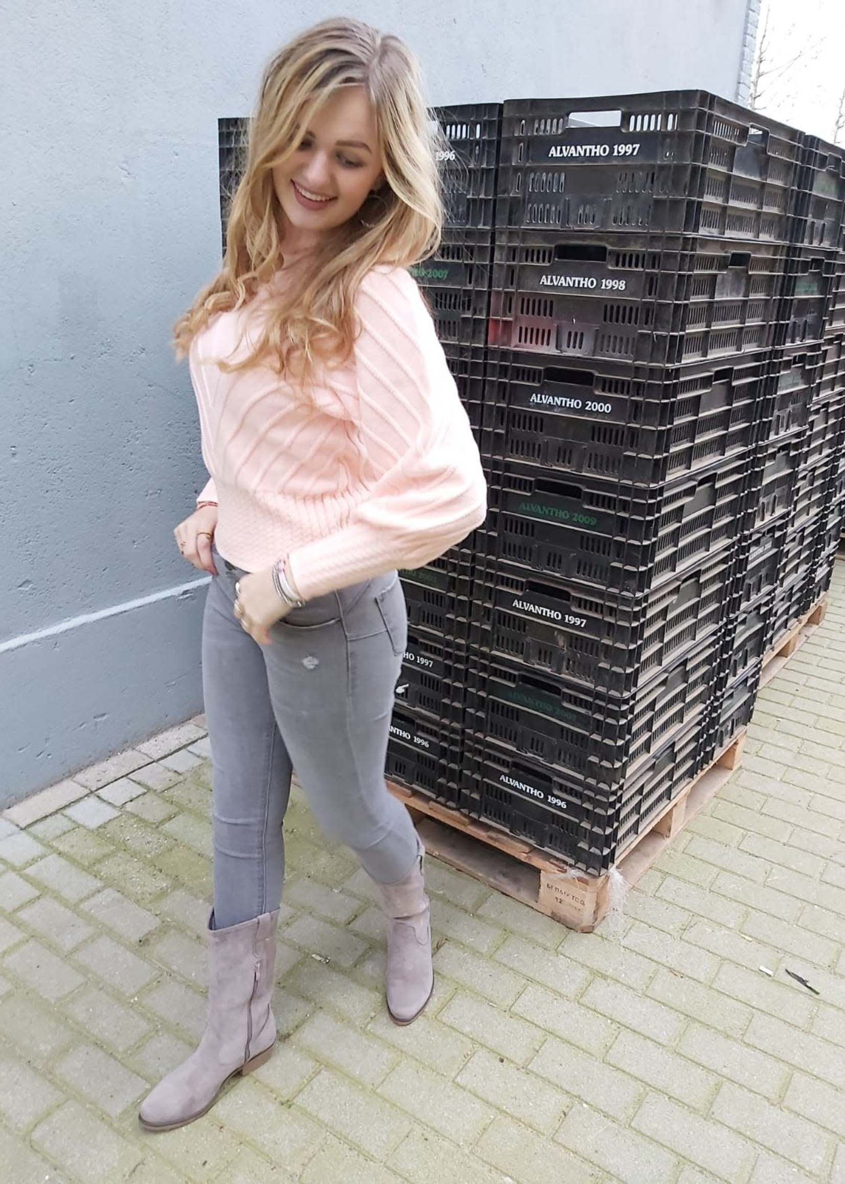 L'Avenue Super high waist jeans grijs