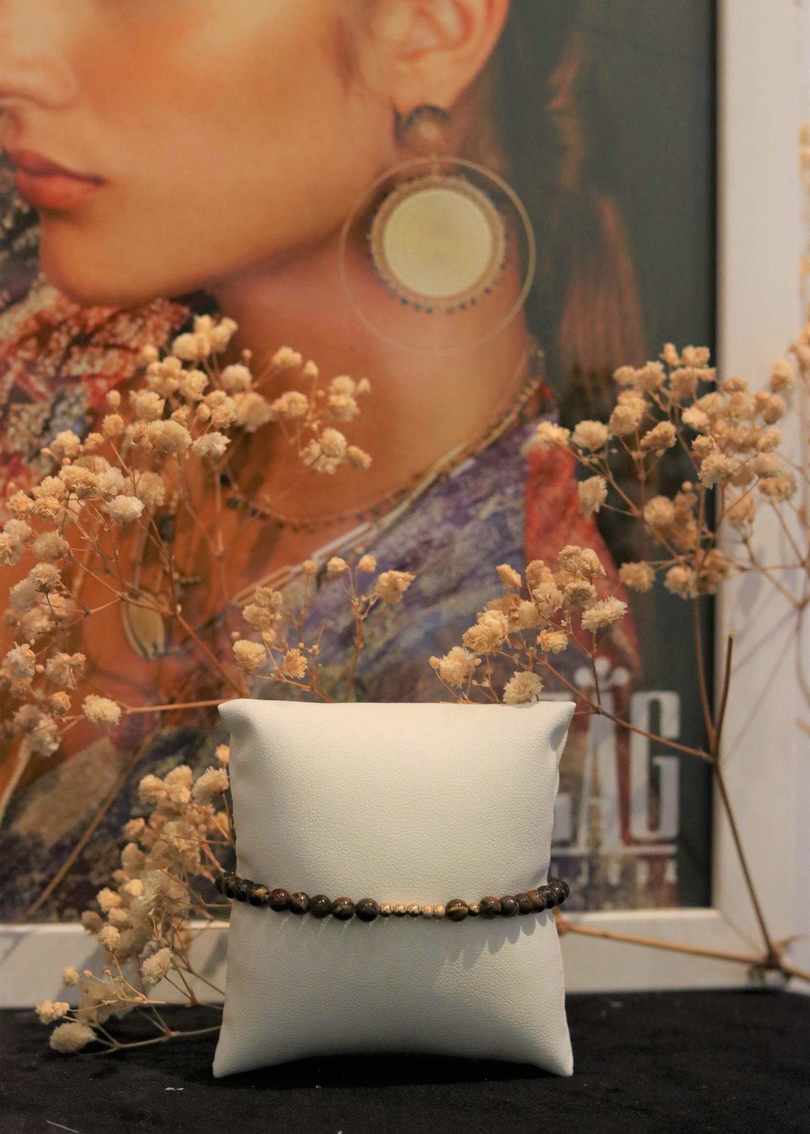 Zag Bijoux ZAG armband marron gold elastiek