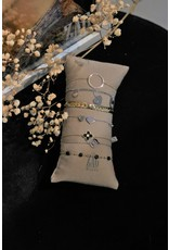 Zag Bijoux ZAG armbande goud zwarte bolletjes