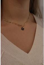 Zag Bijoux ZAG ketting zwart met gouden klaver