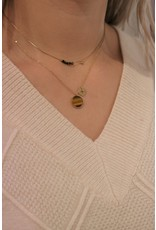 Zag Bijoux ZAG ketting goud met bruine bolletjes