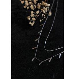 Zag Bijoux ZAG dubbele ketting staafjes zilver