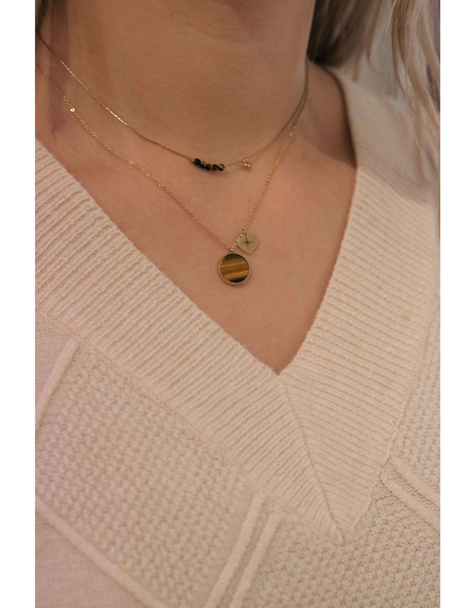 Zag Bijoux ZAG ketting bruin met gouden bedel