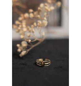 Zag Bijoux ZAG drie dubbele ring bruine steen