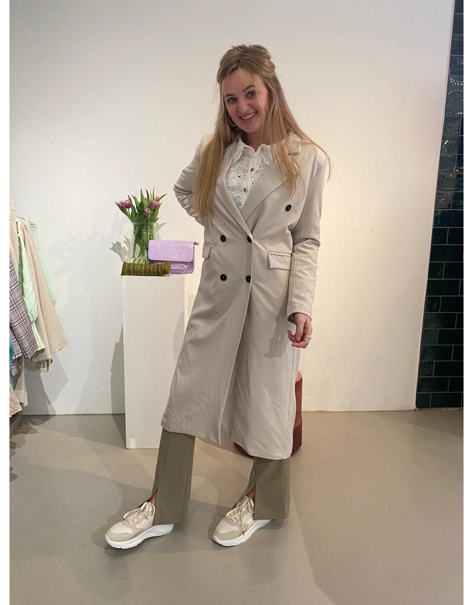 Mantel jas beige