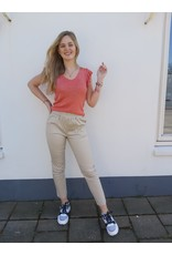 Turquoise Chino broek - beige