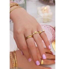 My Jewellery My Jewellery brede ring met roze steen