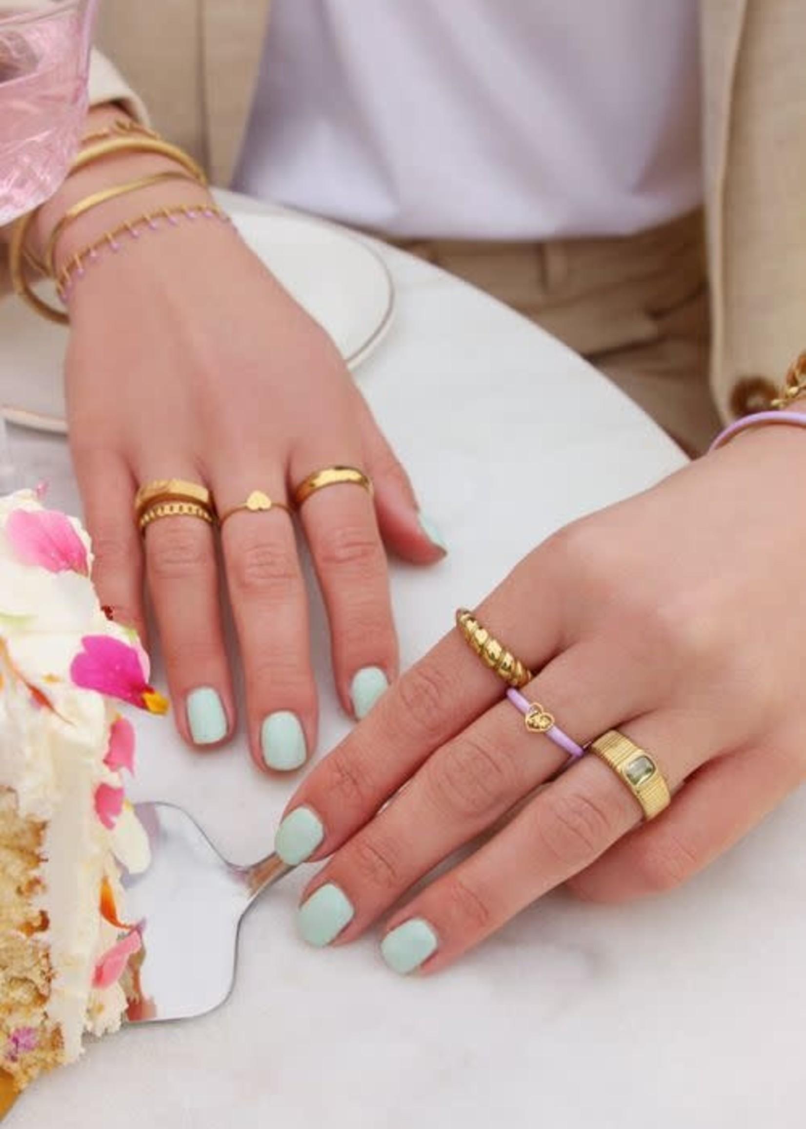 My Jewellery My Jewellery brede ring met gele steen