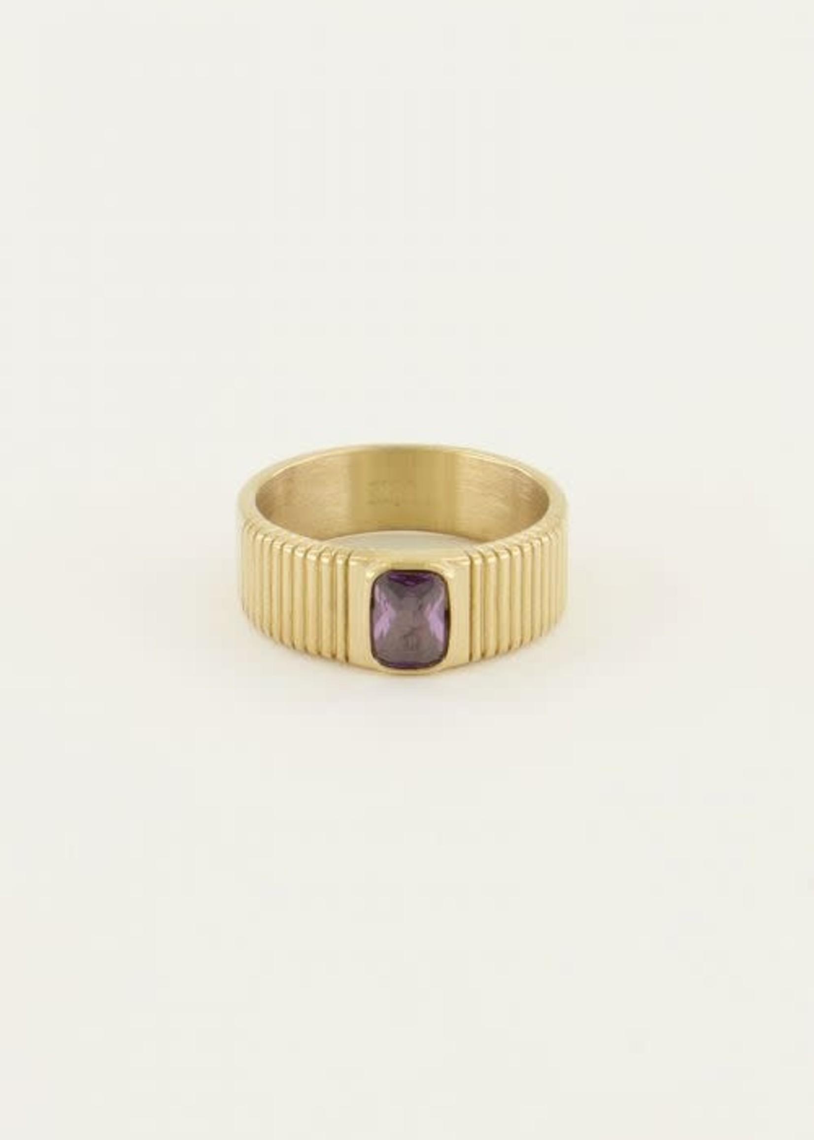 My Jewellery My Jewellery brede ring met paarse steen
