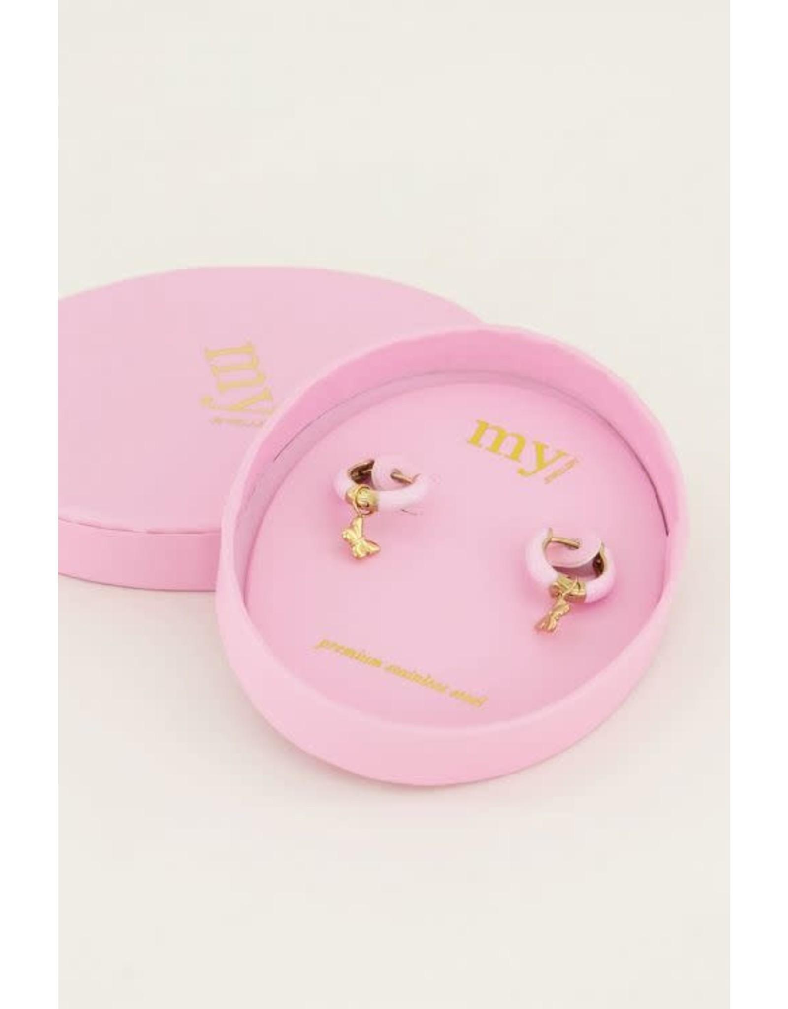My Jewellery My Jewellery oorringen roze vlinder