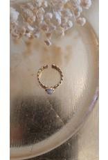 Zag Bijoux ZAG schakel ring met witte steen