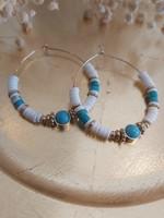Zag Bijoux ZAG oorring witte en turquoise kralen