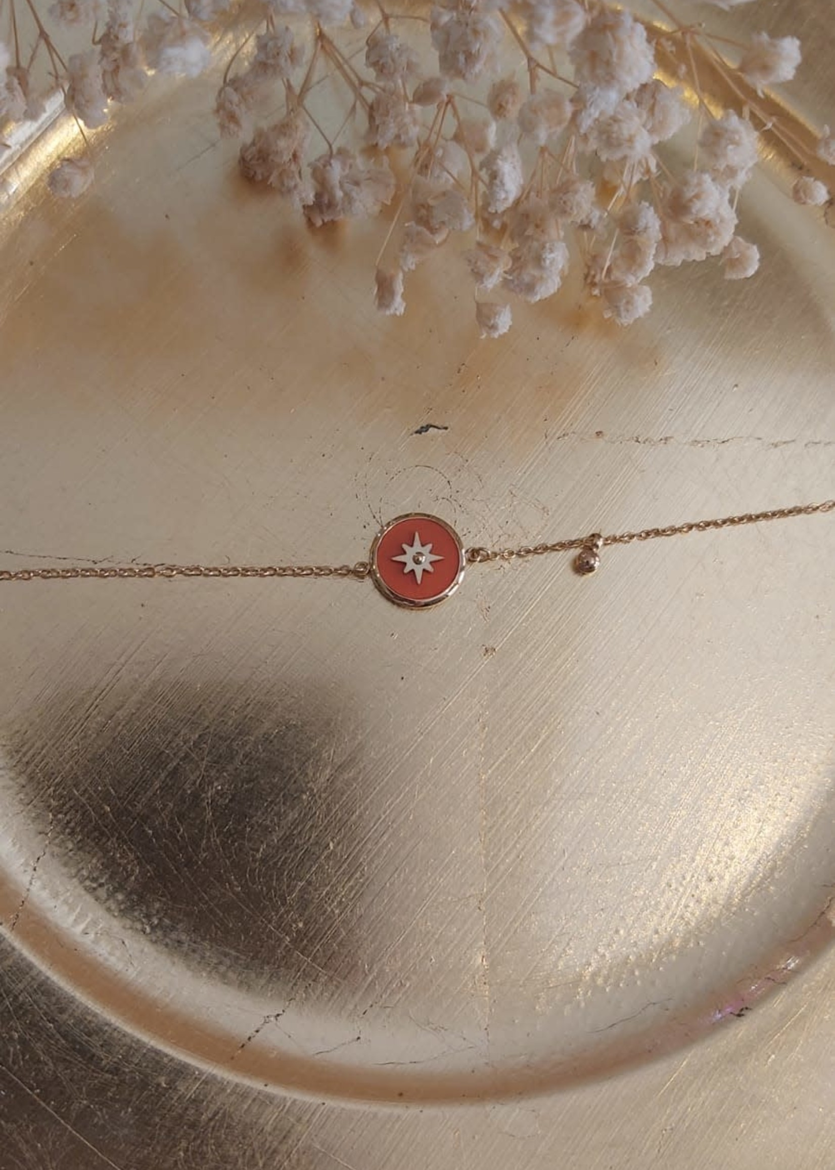 Zag Bijoux ZAG armband oranje bedel