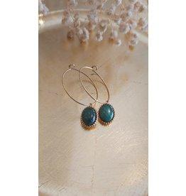 Zag Bijoux ZAG oorring turquoise steen